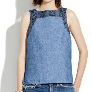 Madewell, Indigo Linen Embroidery Tank Denim Top M